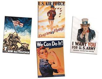 6-22482  WWII Vintage Tin Sign (4 Pk)